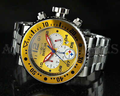 Invicta NFL AUTHORIZED 52mm GRAND Pro Diver Chrono Pittsburgh Steelers Watch NEW