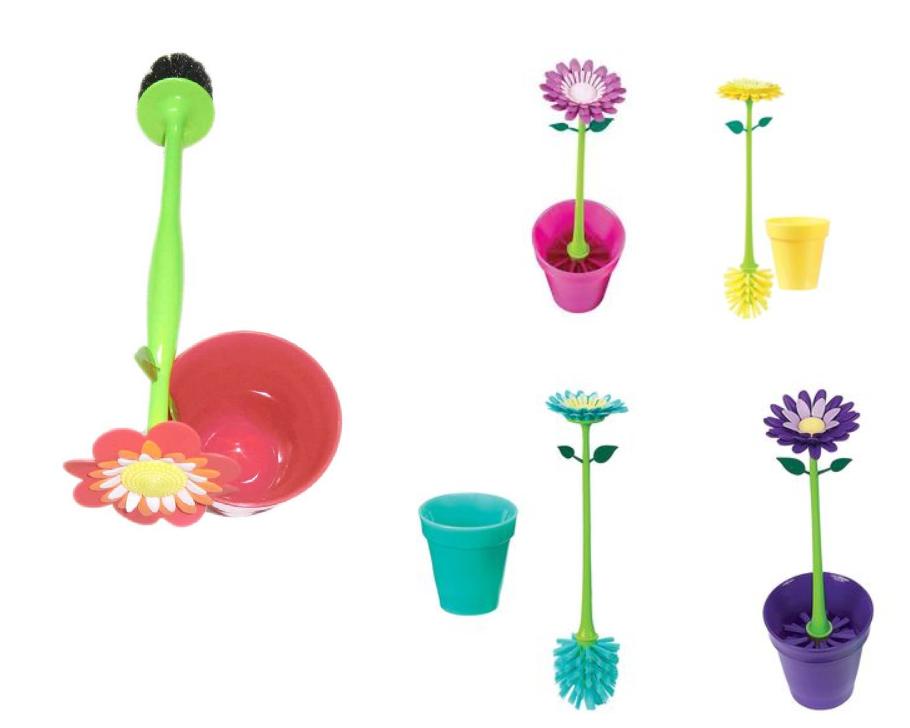 Spazzola spazzolino per Water Wc Fiore flower colori assortiti dfh