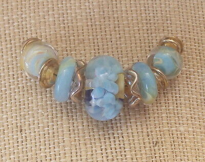 LNT- Handmade Boro Lampwork Beads, SRA - BLUE ROSE PETALs Ln550, Jewelry & Craft