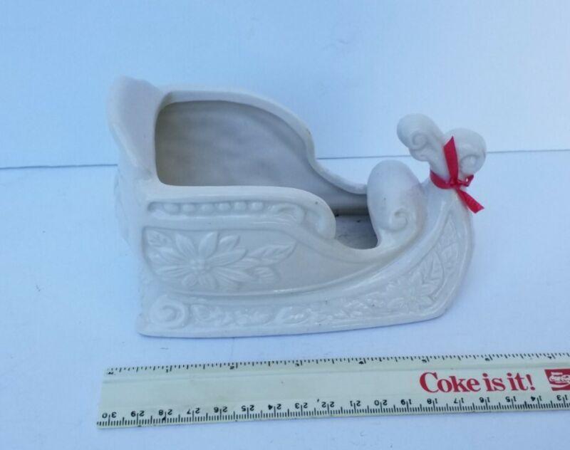 Vintage cream/white ceramic sleigh planter