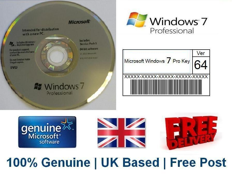 Microsoft Windows 7 Pro Professional License Key Sticker ...