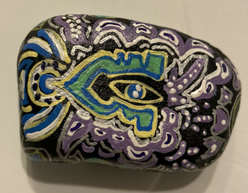 Lot 2 Painted Rocks Tree Of Life Eye ACEO Outsider Abstract Scott C Freeman Rock - $14.00