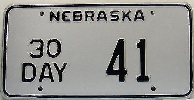 Nebraska   License Plate, Original Kennzeichen USA  30 DAY  41  ORIGINALBILD