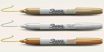 Sharpie Metallic Fine Bronze Silver Gold Permanent Marker Pack 3