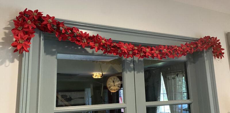 "Vtg Christmas Poinsettia Garland 66"" Red Decor Soft Linked Little Sparkle EUC!"