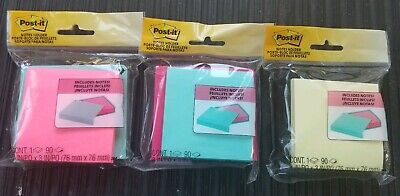 Post-it Notes Holder Pink Plastic W Teal 3 X 3 90 Sheet Pad Compact Slim