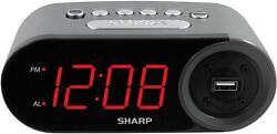 Sharp Electric Digital Alarm Clock w/ 2 AMP High-Speed USB Charging LED Display