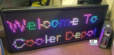 New Led Sign 7 Color Programmable Scrolling Outdoor Message Display 41 X 16