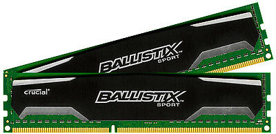 Crucial Ballistix Sport 8GB Kit 4GB x2 DDR3 1600 MHz PC3-12800 CL9 1.5V Memory
