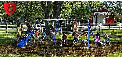 Playground Metal Swing Set Outdoor Play Slide Kids Backyard Swingset Playset