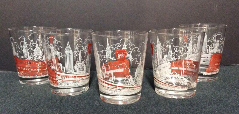 "Vintage Lot Of 5 Pennsylvania PRR Railroad Glass Tumbler Set #4902 4.5"""