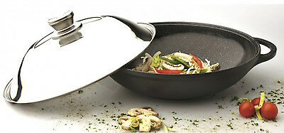 """Eurocast Professional Cookware 12.25"""" Chinese Covered Wok wi"""