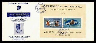 DR WHO 1968 PANAMA FDC POPE PAUL VI SPACE S/S OVPT IMPERF  g21807