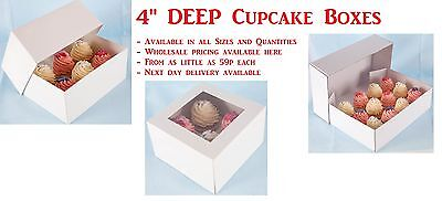 10cm Deep Fairy Cakes Boxes . Any Colour Size & Quantity
