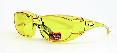 Global Vision Oversite Yellow Fit Over Most Safety Glasses Night Driving Z87