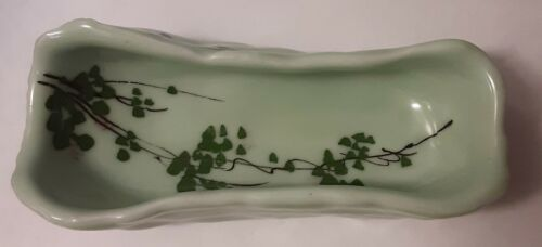 Chinese Pale Green Celadon Porcelain Brush Washer W/ Hand Painted Lotus Leaves