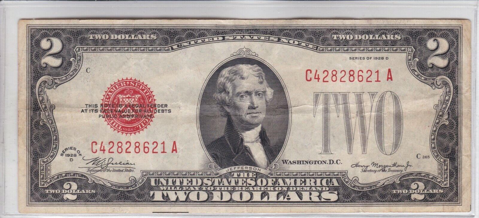 VINTAGE 1928D 2 UNITED STATES NOTE TWO DOLLAR BILL JEFFERSON RED SEAL DOLLARS - $7.00