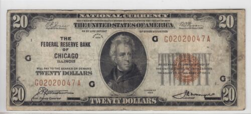 1929 Federal Reserve Bank of Chicago, IL $20 Note FR#1870-G G02020047A