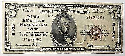 $5 1929 Birmingham Alabama AL National Currency Bank Note Bill #3185. Very Fine.