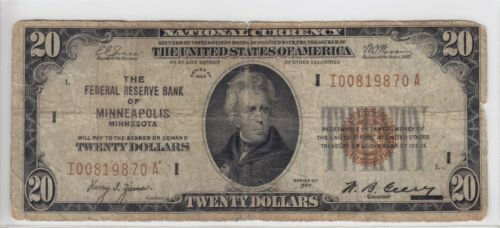 1929 Federal Reserve Bank of Minneapolis, MN $20 Note FR#1870-I I00819870A