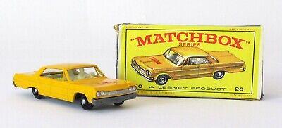Vintage Lesney Matchbox 20 Chevrolet Impala Taxi Cab Regular Wheel NEAR MINT BOX