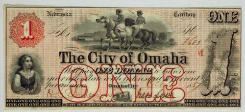1857 Nebraska Territory THE CITY OF OMAHA $1 Obsolete Currency Scarce