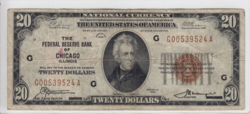 1929 Federal Reserve Bank of Chicago, IL $20 Note FR#1870-G G00539524A