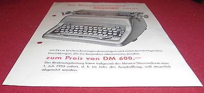 dachbodenfund prospekt blatt torpedo simplex  schreibmaschine alt reklame 1954