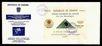 DR WHO 1968 PANAMA FDC OLYMPICS SPACE S/S OVPT TRIANGLE  g21809