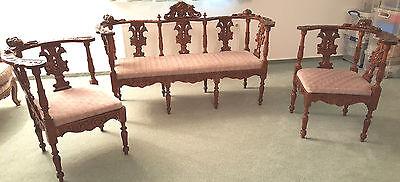 Sitzgruppe Sitzgarnitur Salonmöbel Polsterbank, Antik ca 1860, britischer Stil