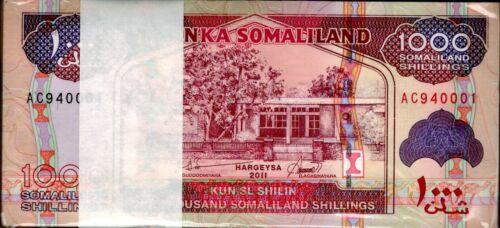 2011 Somaliland 1000 Shillings Bundle Uncirculated 100 Notes