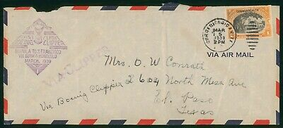 Mayfairstamps Philippines Flight 1939 Manila San Fran Via Guam and Honolulu Clip