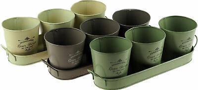 Set Of 3 Vintage Style Window Plant Pots Metal Garden Retro Flower Herb Planter
