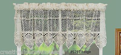 Cotton Crochet Lace Kitchen Curtain Valance Beige Handmade Creative Linens for sale  Walnut
