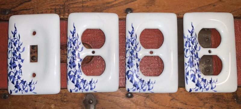 Leviton Porcelain Blue Vine Flower Receptacle 3 Outlet Covers & 1 Light Switch