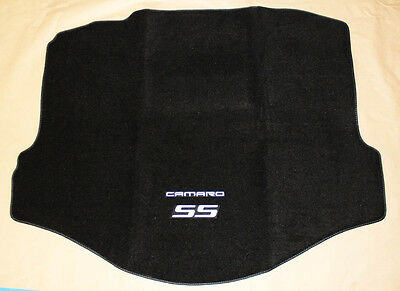 (NEW BLACK Trunk Mat 2010-2015 Camaro Embroidered Double Logo and SS in Silver)