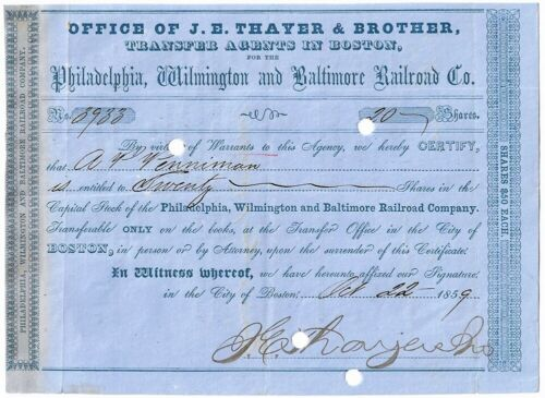 "1859 ""PHILADELPHIA, WILMINGTON & BALTIMORE RAILROAD"" Stock Certificate"