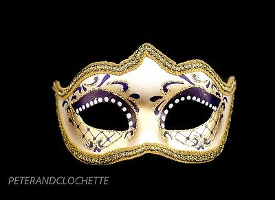 Mask Wolf from Venice Colombine a Tip Purple Golden for Evening Ballgown 896 V28