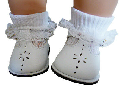 White T-strap Doll Shoes - White T-Strap Shoes Lace Trim Socks fits Bitty Baby + Twins Doll Clothes