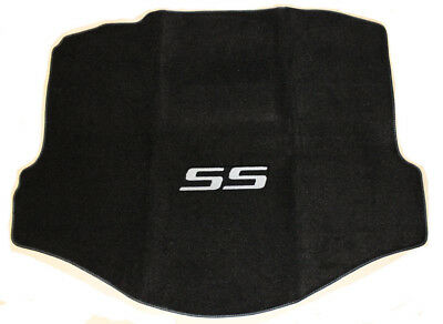 (NEW BLACK Trunk Mat 2010-2015 Camaro Coupe with Embroidered SS in Silver)