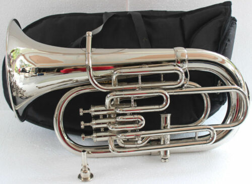 New NICKEL PLATED 4 Valve Bb/F Euphonium Free Case+MOUTHPIECE