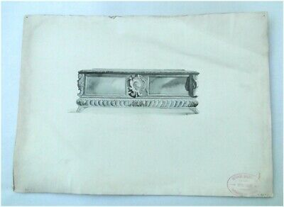 Italian Classic Sideboard Black and White WATERCOLOR Drawing, Architectural, ART ()