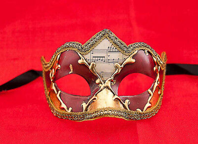 MASK VENICE COLOMBINE A PEAK MUSICA RED AND DORE FOR COSTUME 696