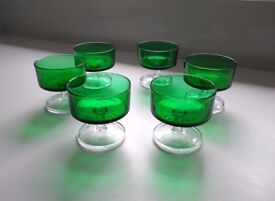 Set of 6 Rare Emerald Green Luminarc Glasses Dessert Dishes Champagne Vintage Retro
