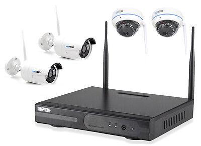 WLAN HD Überwachungsset FUNK Kamera Domekamera kabellos Fernzugriff IP Kamera IR