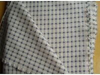 FABRIC - CREAM with BLUE CHECK & RAISED MOTIF, medium weight curtain / upholstery COLLECTION ONLY