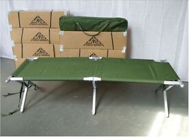 Camping Bed - British Army Issue Folding Aluminium Frame Cot Camp Bed - New - Unused