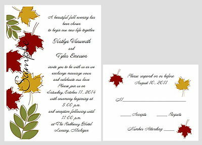 100 Personalized Custom Fall Autumn Leaves Bridal Wedding Invitations Set