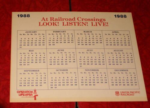 "UNION PACIFIC RAILROAD UPRR OPERATION LIFESAVER 1988  8.5"" x 11"" CALENDAR"