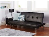 14-DAY MONEY BACK GUARANTEE - BRAND NEW CLIC CLAC LEATHER 3 SEATER SOFA BED - 2 COLOURS